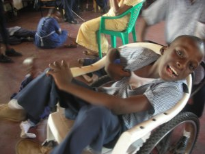 Duncan Abasi in his wheelchair